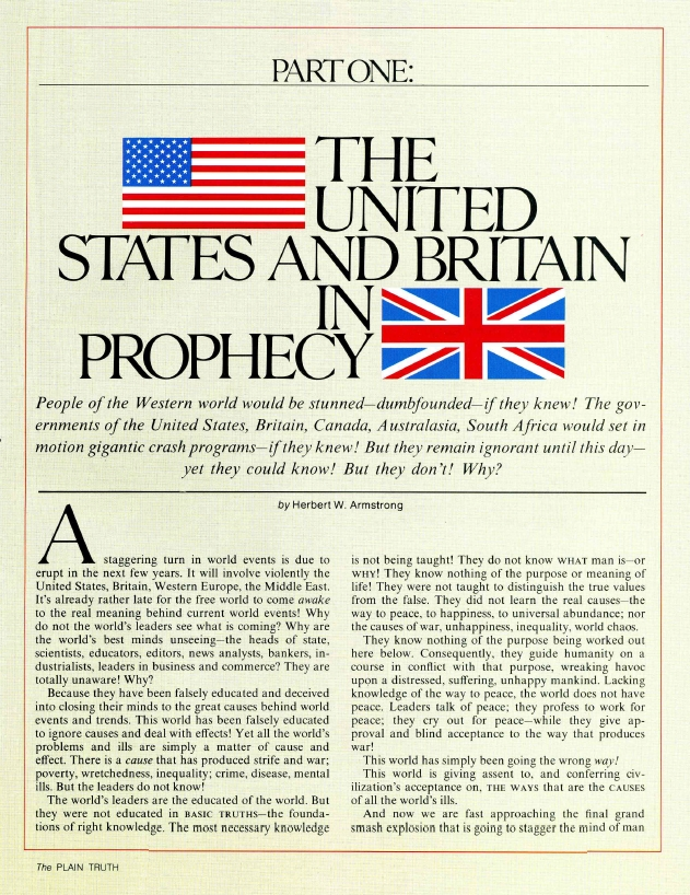 THE UNITED STATES AND BRITAIN IN PROPHECY: PART ONE