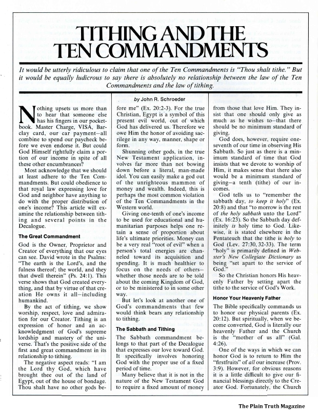 TITHING AND THE TEN COMMANDMENTS