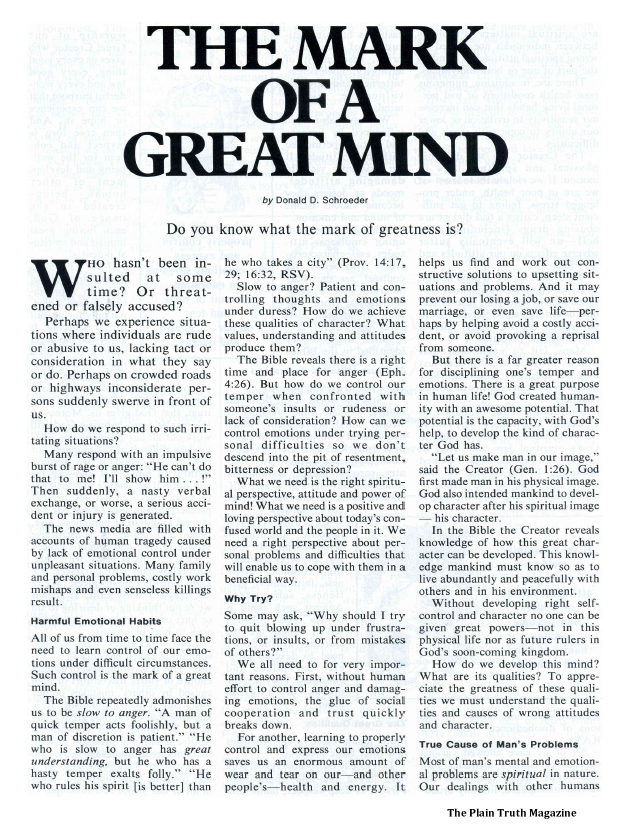 THE MARK OF A GREAT MIND