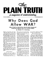 Why Does God Allow WAR? Plain Truth Magazine November-December 1955 Volume: Vol XX, No.9 Issue: