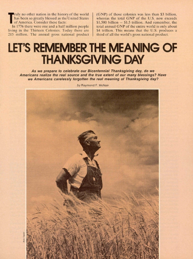 LET'S REMEMBER THE MEANING OF THANKSGIVING DAY