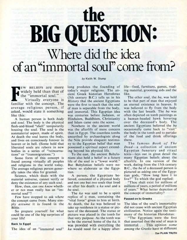 The BIG QUESTION: Where did the idea of an Immortal Soul come from?
