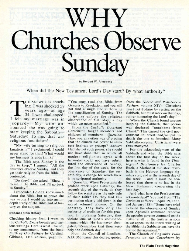 WHY Churches Observe Sunday