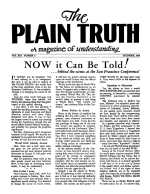 NOW it Can Be Told! Plain Truth Magazine December 1948 Volume: Vol XIII, No.6 Issue: