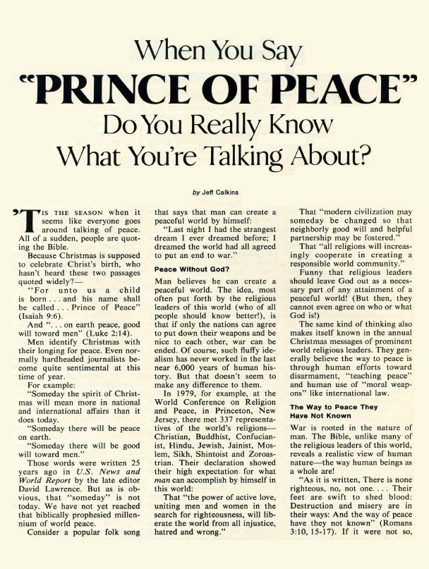 When You Say PRINCE OF PEACE Do You Really Know What You're Talking About?