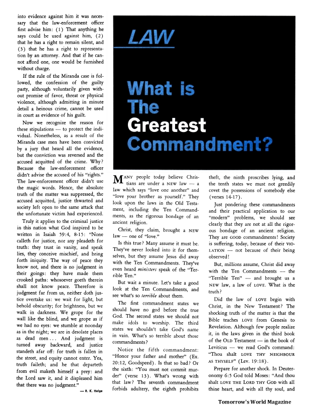 Law - What Is the Greatest Commandment?