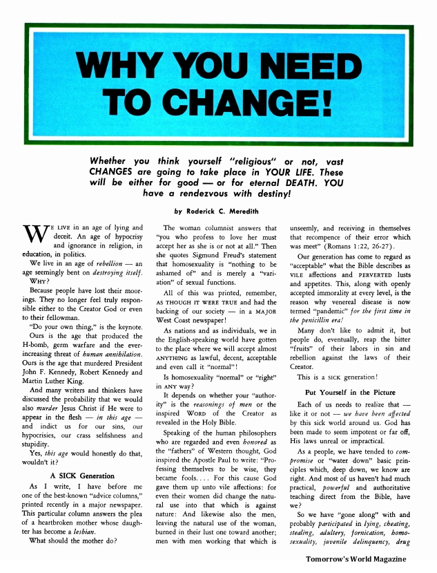 Why You Need to Change!