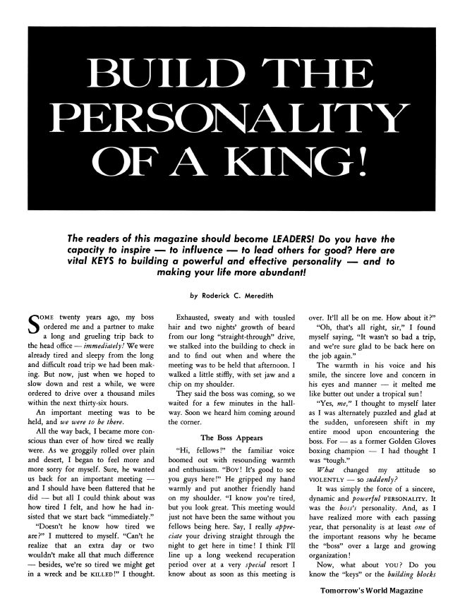 Build the Personality of a King!