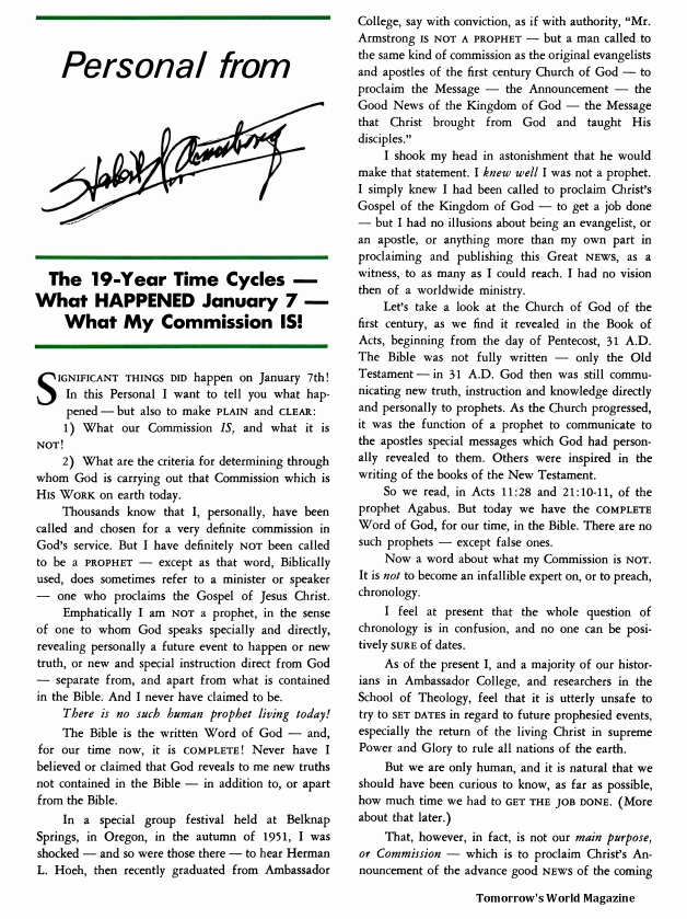 The 19-Year Time Cycles - What HAPPENED January 7 - What My Commission IS!