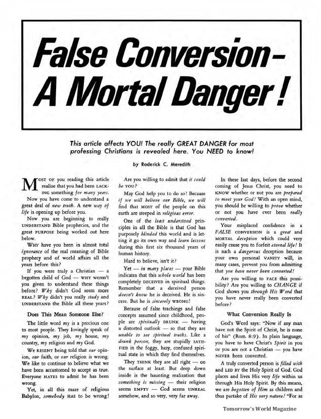 False Conversion - A Mortal Danger!
