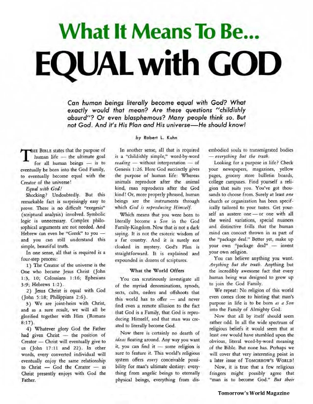 What it Means to Be - Equal with God