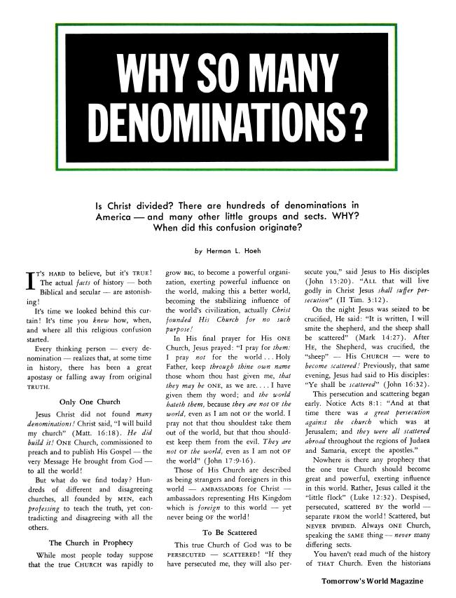 Why So Many Denominations?
