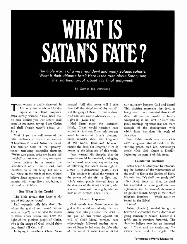 What Is Satan's Fate?