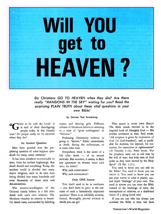 Will You Get to Heaven?