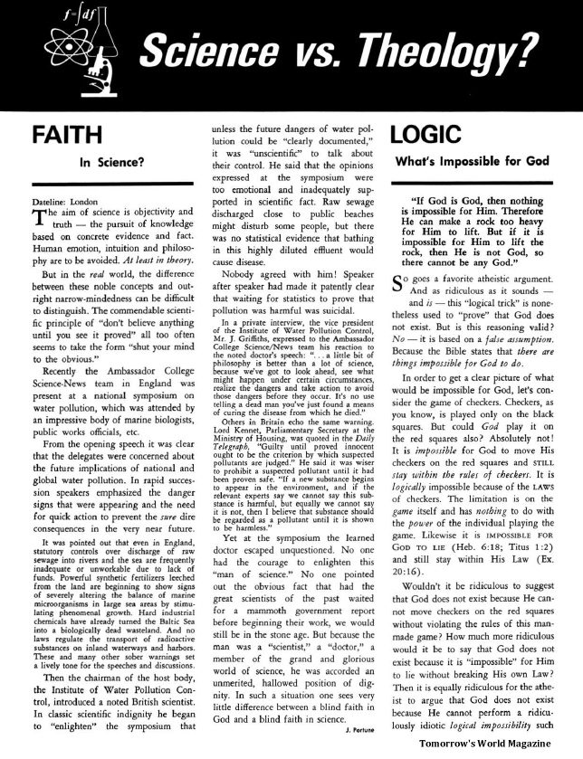 Science vs. Theology? - Faith In Science