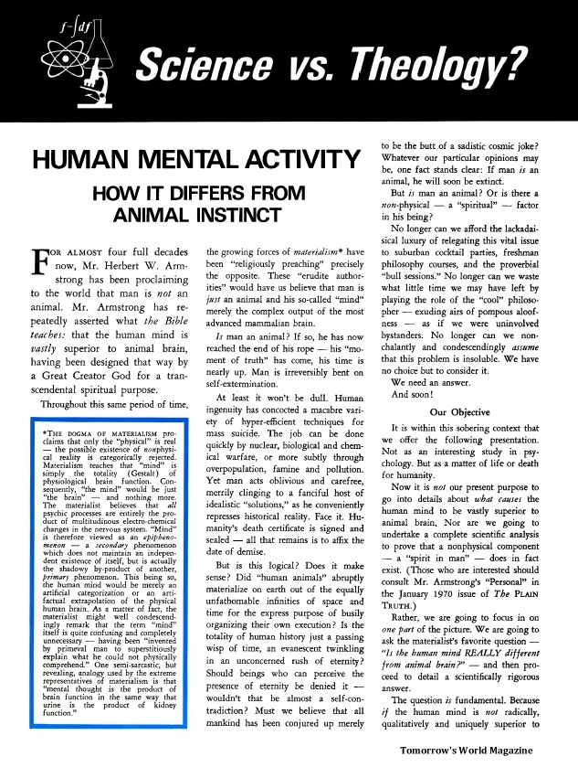 Science vs. Theology? - Human Mental Activity How It Differs From Animal Instinct
