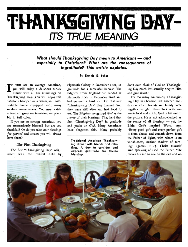 Thanksgiving Day - Its True Meaning