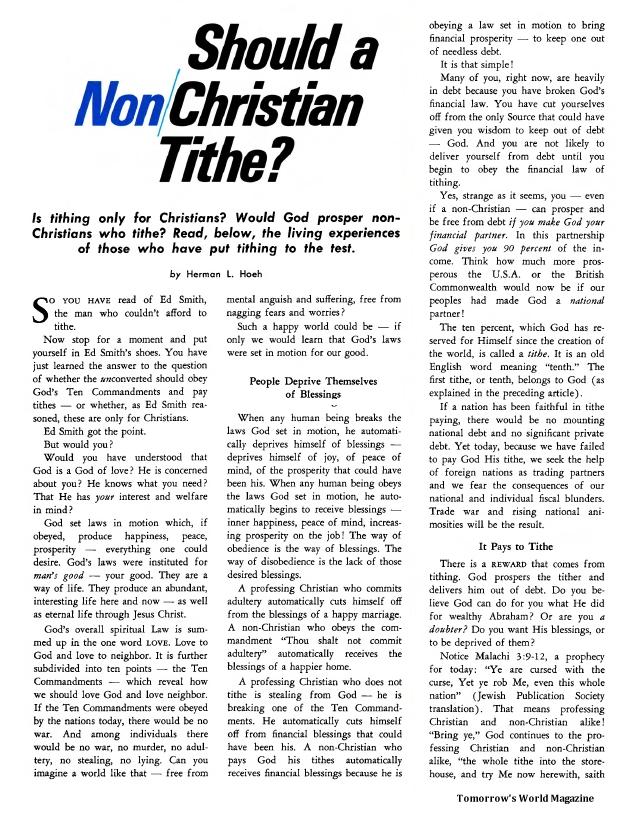 Should a Non Christian Tithe?