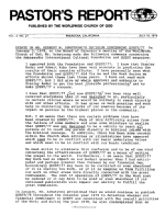 Update On Mr. Herbert W. Armstrong's Decision Concerning Quest/77