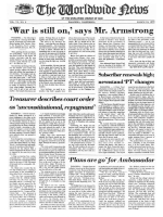 War Is Still On, says Mr. Armstrong