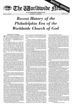 Recent History of the Philadelphia Era of the Worldwide Church of God